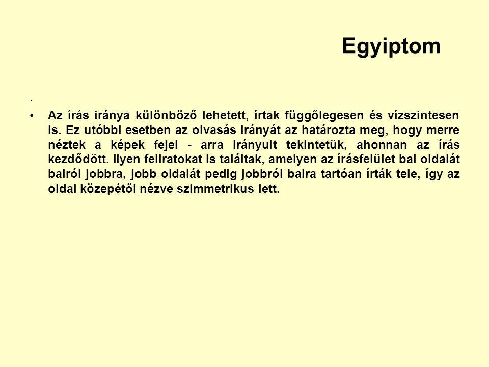 Egyiptom. Az írás iránya különböző lehetett, írtak függőlegesen és vízszintesen is. Ez utóbbi esetben az olvasás irányát az határozta meg, hogy merre