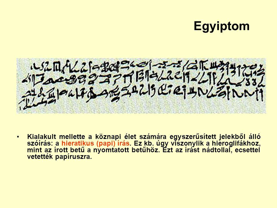 Egyiptom Kialakult mellette a köznapi élet számára egyszerűsített jelekből álló szóírás: a hieratikus (papi) írás. Ez kb. úgy viszonylik a hieroglifák