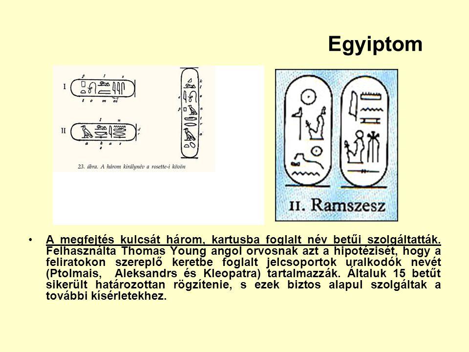 Egyiptom A megfejtés kulcsát három, kartusba foglalt név betűi szolgáltatták. Felhasználta Thomas Young angol orvosnak azt a hipotézisét, hogy a felir