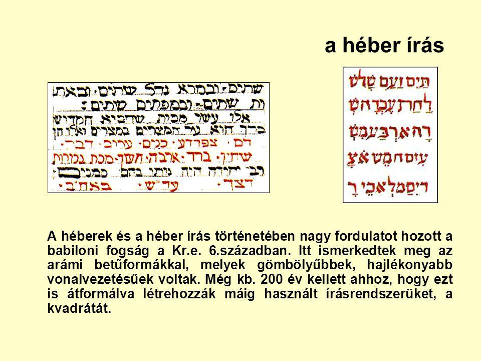 a héber írás A héberek és a héber írás történetében nagy fordulatot hozott a babiloni fogság a Kr.e. 6.században. Itt ismerkedtek meg az arámi betűfor