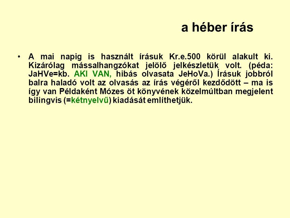 a héber írás A mai napig is használt írásuk Kr.e.500 körül alakult ki. Kizárólag mássalhangzókat jelölő jelkészletük volt. (péda: JaHVe=kb. AKI VAN, h