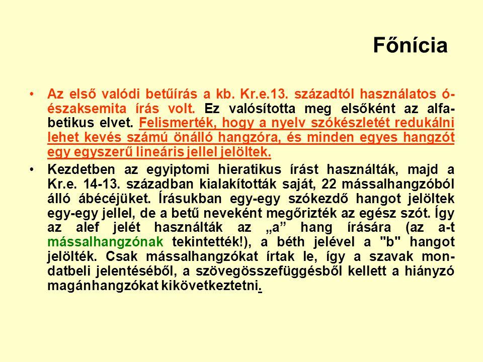 Főnícia Az első valódi betűírás a kb. Kr.e.13. századtól használatos ó- északsemita írás volt. Ez valósította meg elsőként az alfa- betikus elvet. Fel