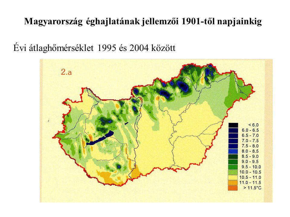 Évi átlaghőmérséklet 1995 és 2004 között Magyarország éghajlatának jellemzői 1901-től napjainkig