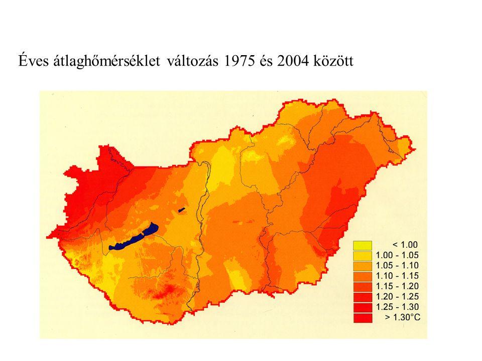 Éves átlaghőmérséklet változás 1975 és 2004 között