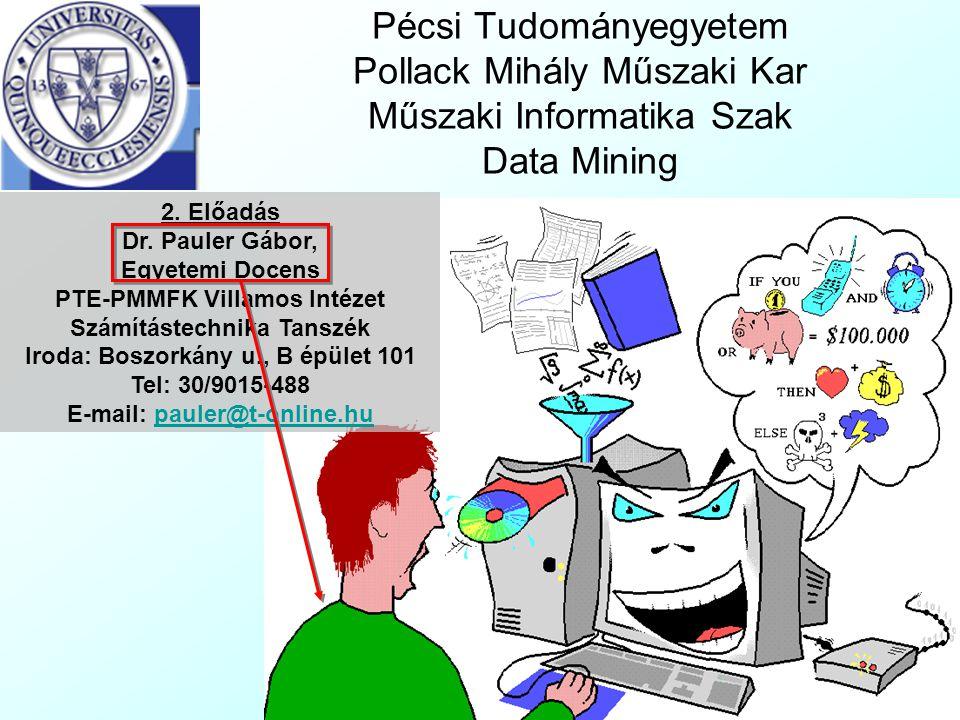Pécsi Tudományegyetem Pollack Mihály Műszaki Kar Műszaki Informatika Szak Data Mining 2. Előadás Dr. Pauler Gábor, Egyetemi Docens PTE-PMMFK Villamos
