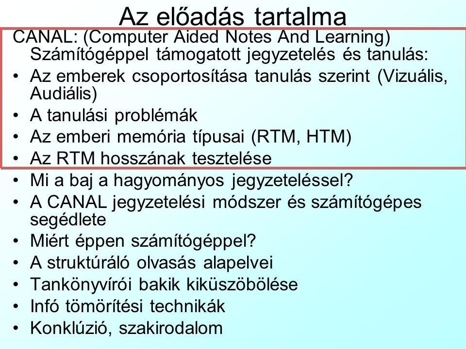 Az előadás tartalma CANAL: (Computer Aided Notes And Learning) Számítógéppel támogatott jegyzetelés és tanulás: Az emberek csoportosítása tanulás szer