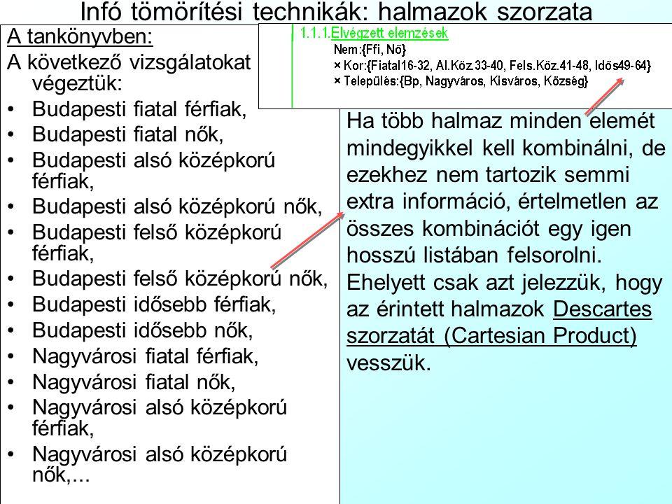 Infó tömörítési technikák: halmazok szorzata A tankönyvben: A következő vizsgálatokat végeztük: Budapesti fiatal férfiak, Budapesti fiatal nők, Budape