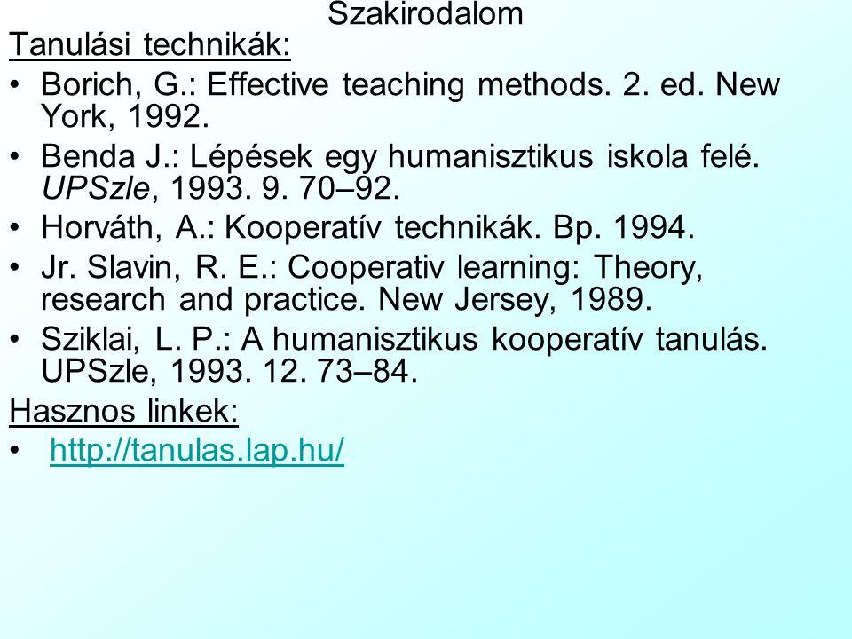 Szakirodalom Tanulási technikák: Borich, G.: Effective teaching methods. 2. ed. New York, 1992. Benda J.: Lépések egy humanisztikus iskola felé. UPSzl