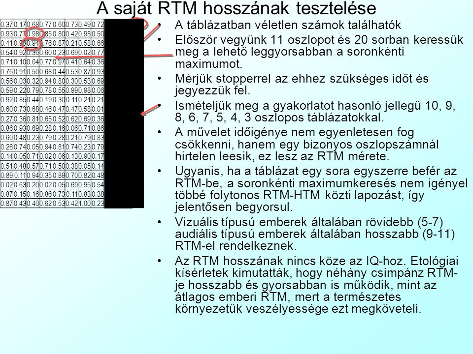 A saját RTM hosszának tesztelése A táblázatban véletlen számok találhatók Először vegyünk 11 oszlopot és 20 sorban keressük meg a lehető leggyorsabban