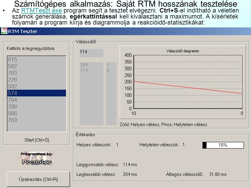 Számítógépes alkalmazás: Saját RTM hosszának tesztelése Az RTMTeszt.exe program segít a tesztet elvégezni. Ctrl+S-el indítható a véletlen számok gener