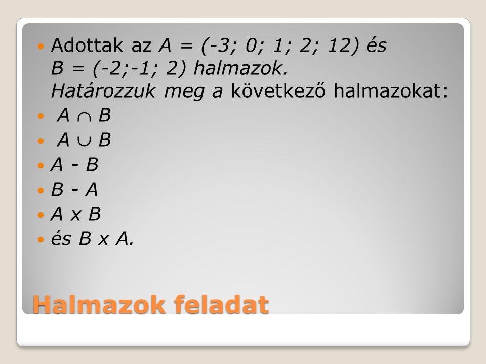 Halmazok feladat Adottak az A = (-3; 0; 1; 2; 12) és B = (-2;-1; 2) halmazok. Határozzuk meg a következő halmazokat: A  B A  B A - B B - A A x B és