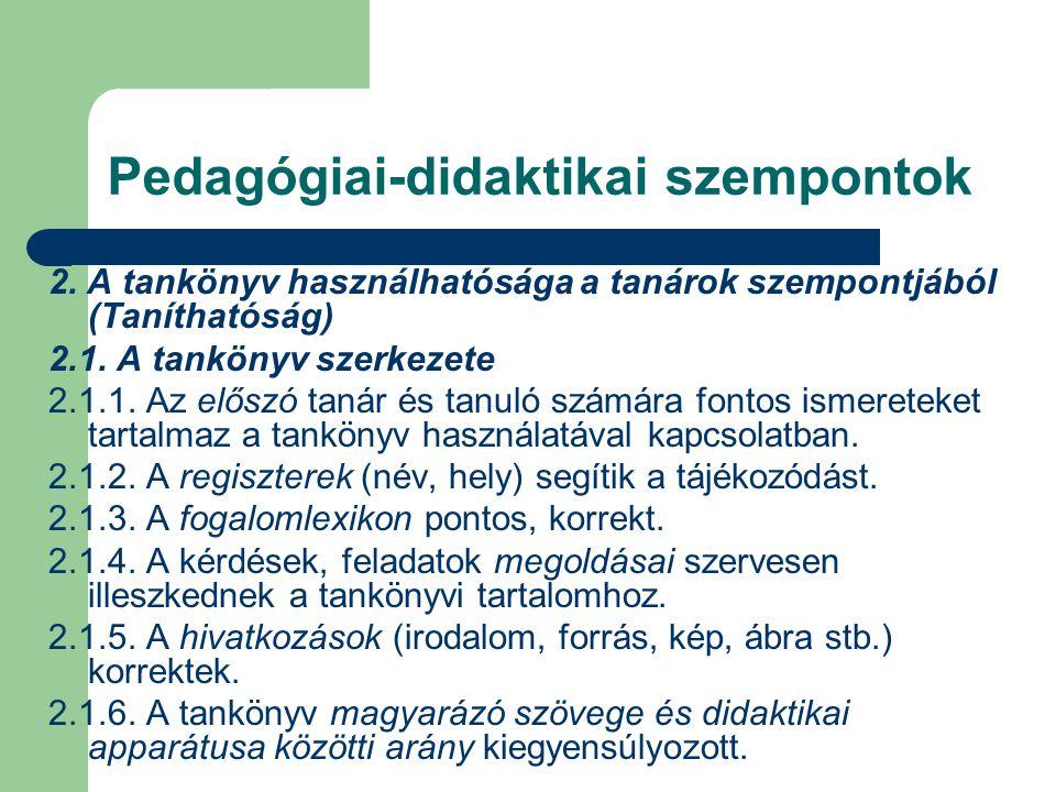 Pedagógiai-didaktikai szempontok 2.