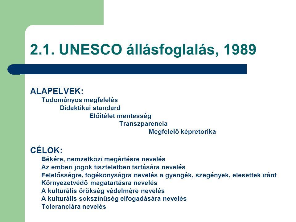 2.1. UNESCO állásfoglalás, 1989 ALAPELVEK: Tudományos megfelelés Didaktikai standard Előítélet mentesség Transzparencia Megfelelő képretorika CÉLOK: B