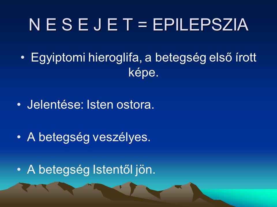 N E S E J E T = EPILEPSZIA Egyiptomi hieroglifa, a betegség első írott képe.