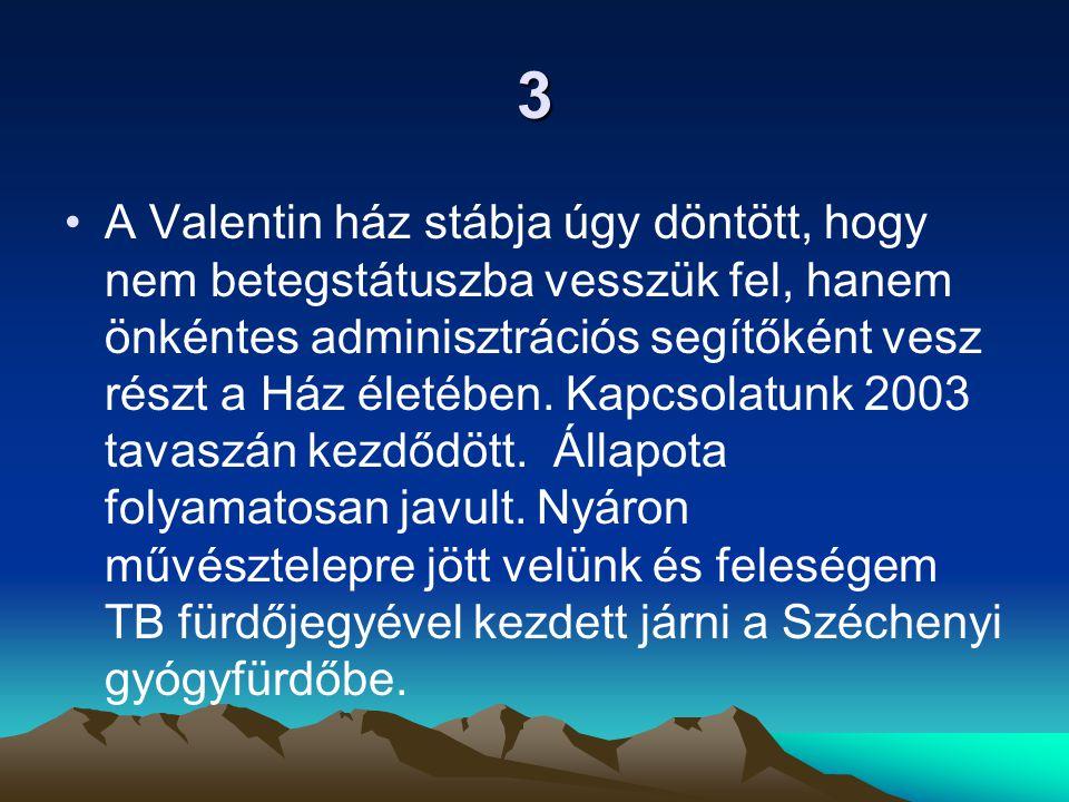 3 A Valentin ház stábja úgy döntött, hogy nem betegstátuszba vesszük fel, hanem önkéntes adminisztrációs segítőként vesz részt a Ház életében.
