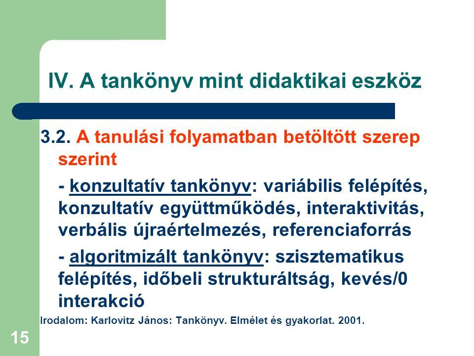 15 IV. A tankönyv mint didaktikai eszköz 3.2. A tanulási folyamatban betöltött szerep szerint - konzultatív tankönyv: variábilis felépítés, konzultatí