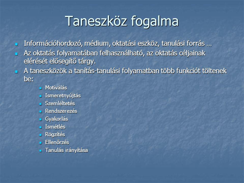 Taneszköz fogalma Információhordozó, médium, oktatási eszköz, tanulási forrás … Információhordozó, médium, oktatási eszköz, tanulási forrás … Az oktat