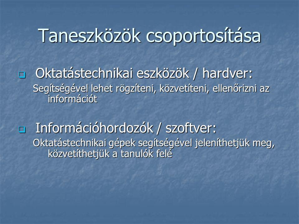 Taneszközök csoportosítása  Oktatástechnikai eszközök / hardver: Segítségével lehet rögzíteni, közvetíteni, ellenőrizni az információt  Információho