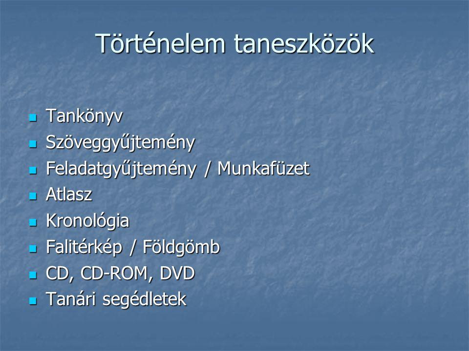 Történelem taneszközök Tankönyv Tankönyv Szöveggyűjtemény Szöveggyűjtemény Feladatgyűjtemény / Munkafüzet Feladatgyűjtemény / Munkafüzet Atlasz Atlasz Kronológia Kronológia Falitérkép / Földgömb Falitérkép / Földgömb CD, CD-ROM, DVD CD, CD-ROM, DVD Tanári segédletek Tanári segédletek