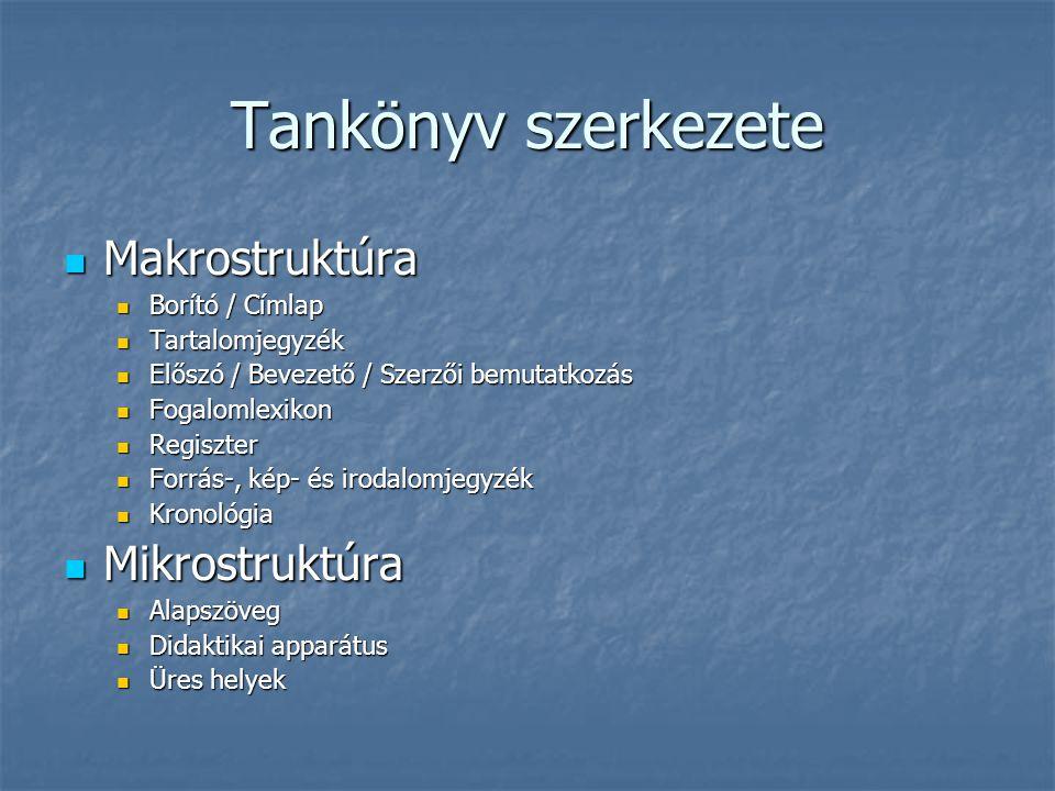 Tankönyv szerkezete Makrostruktúra Makrostruktúra Borító / Címlap Borító / Címlap Tartalomjegyzék Tartalomjegyzék Előszó / Bevezető / Szerzői bemutatk