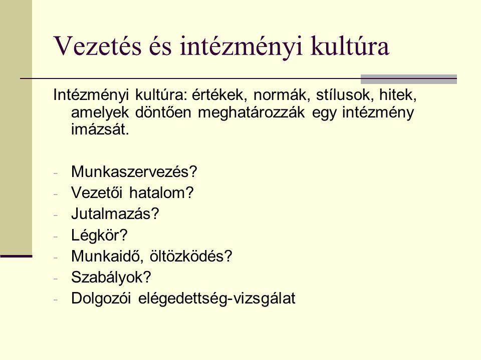 Vezetés és intézményi kultúra Intézményi kultúra: értékek, normák, stílusok, hitek, amelyek döntően meghatározzák egy intézmény imázsát. - Munkaszerve