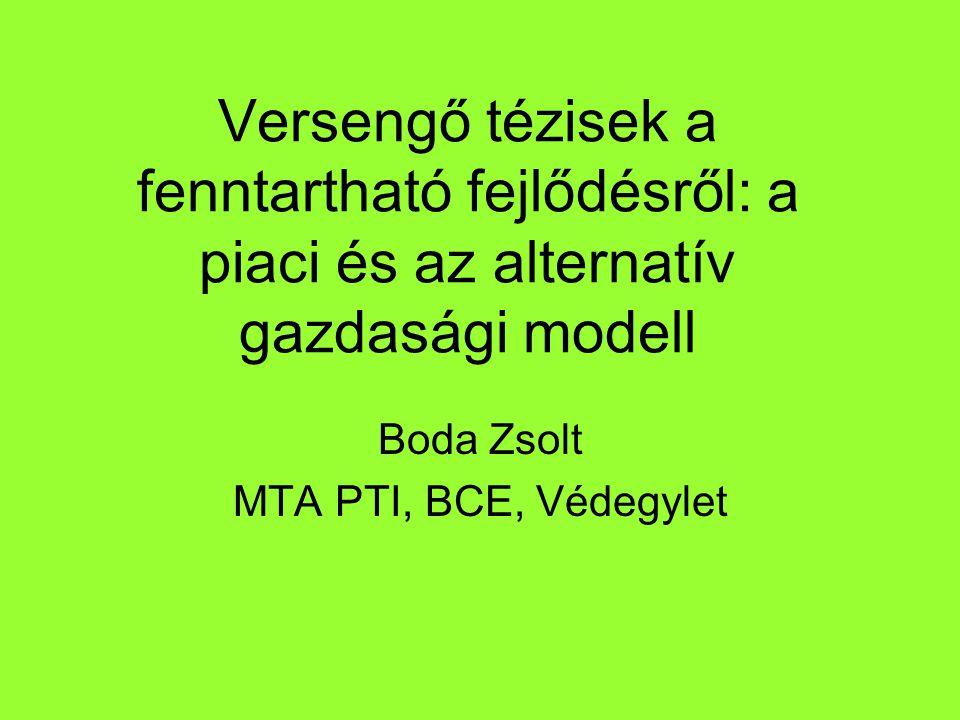 Versengő tézisek a fenntartható fejlődésről: a piaci és az alternatív gazdasági modell Boda Zsolt MTA PTI, BCE, Védegylet