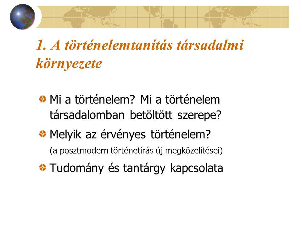 1. A történelemtanítás társadalmi környezete Mi a történelem? Mi a történelem társadalomban betöltött szerepe? Melyik az érvényes történelem? (a poszt