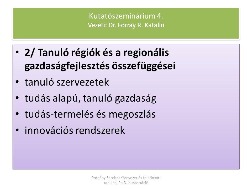 2/ Tanuló régiók és a regionális gazdaságfejlesztés összefüggései tanuló szervezetek tudás alapú, tanuló gazdaság tudás-termelés és megoszlás innováci