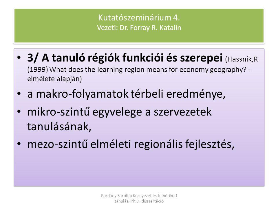 3/ A tanuló régiók funkciói és szerepei (Hassnik,R (1999) What does the learning region means for economy geography? - elmélete alapján) a makro-folya