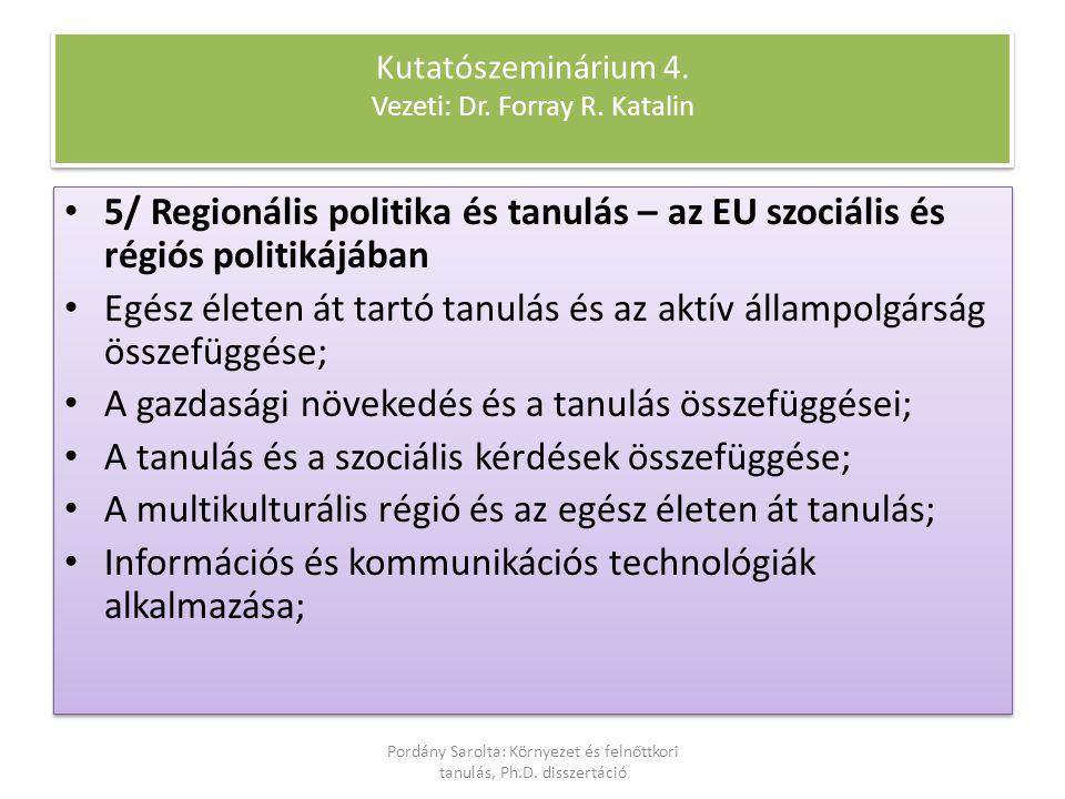 5/ Regionális politika és tanulás – az EU szociális és régiós politikájában Egész életen át tartó tanulás és az aktív állampolgárság összefüggése; A g