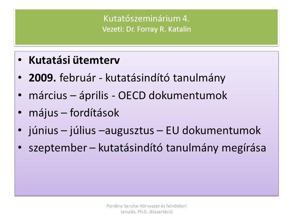 Kutatási ütemterv 2009. február - kutatásindító tanulmány március – április - OECD dokumentumok május – fordítások június – július –augusztus – EU dok