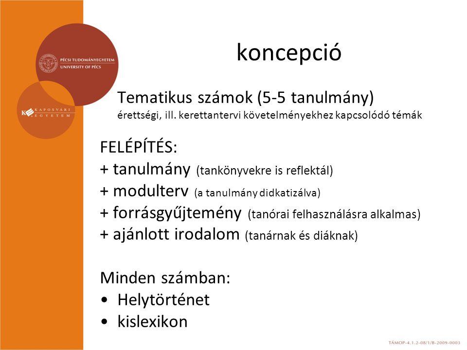 koncepció Tematikus számok (5-5 tanulmány) érettségi, ill. kerettantervi követelményekhez kapcsolódó témák FELÉPÍTÉS: + tanulmány (tankönyvekre is ref