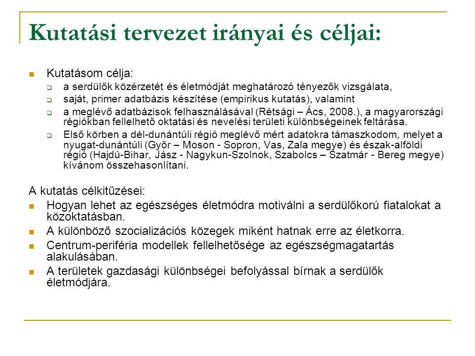 Kutatási tervezet irányai és céljai: Kutatásom célja:  a serdülők közérzetét és életmódját meghatározó tényezők vizsgálata,  saját, primer adatbázis készítése (empirikus kutatás), valamint  a meglévő adatbázisok felhasználásával (Rétsági – Ács, 2008.), a magyarországi régiókban fellelhető oktatási és nevelési területi különbségeinek feltárása.