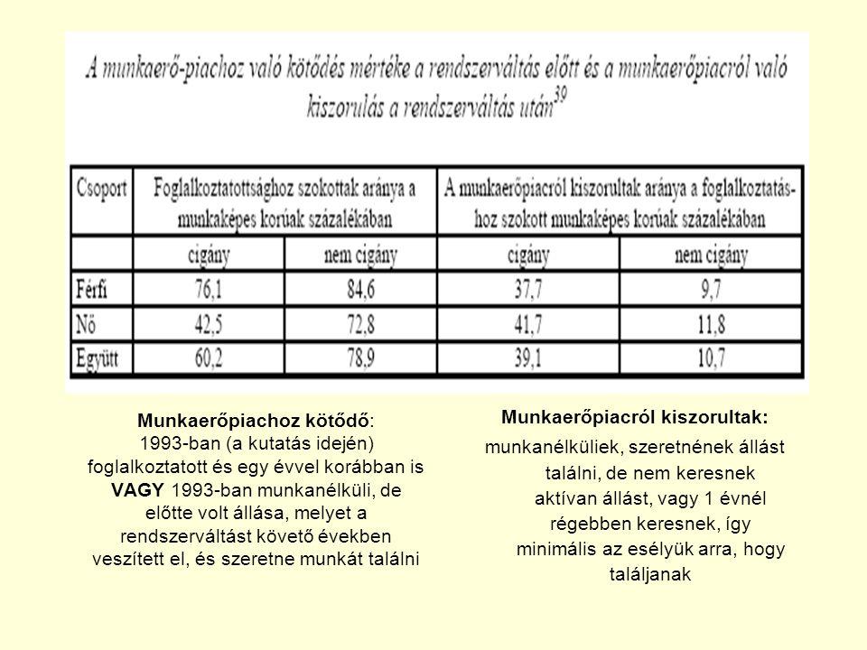 Munkaerőpiachoz kötődő: 1993-ban (a kutatás idején) foglalkoztatott és egy évvel korábban is VAGY 1993-ban munkanélküli, de előtte volt állása, melyet