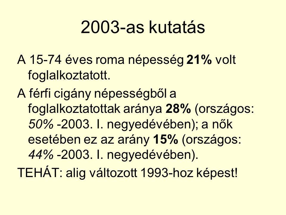 2003-as kutatás A 15-74 éves roma népesség 21% volt foglalkoztatott. A férfi cigány népességből a foglalkoztatottak aránya 28% (országos: 50% -2003. I