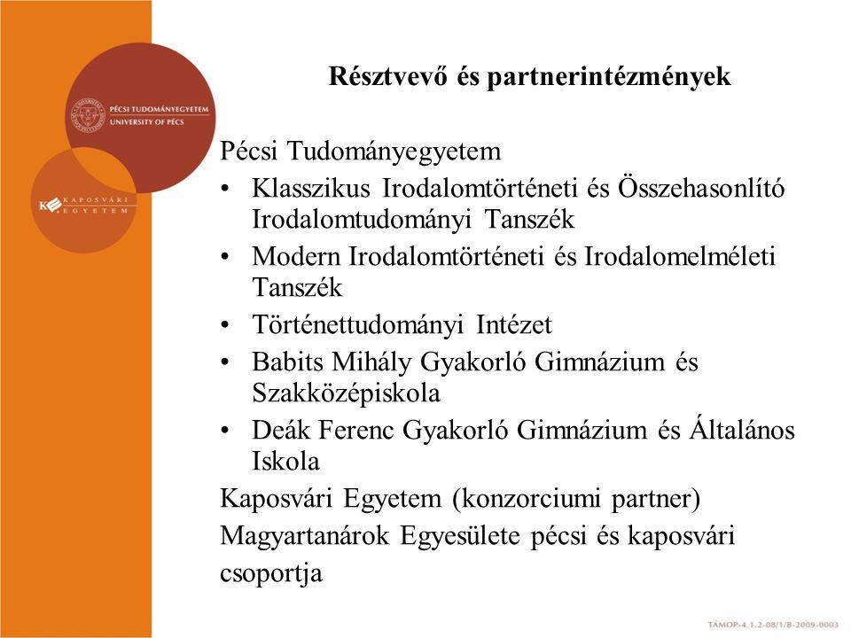 Résztvevő és partnerintézmények Pécsi Tudományegyetem Klasszikus Irodalomtörténeti és Összehasonlító Irodalomtudományi Tanszék Modern Irodalomtörténet