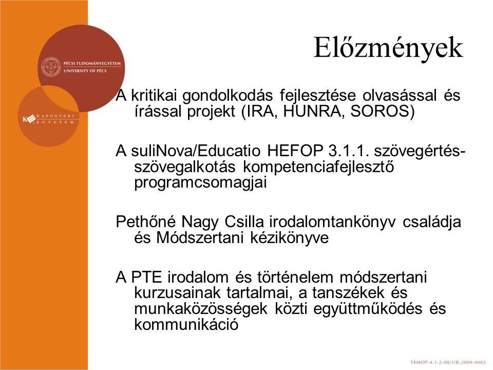 Előzmények A kritikai gondolkodás fejlesztése olvasással és írással projekt (IRA, HUNRA, SOROS) A suliNova/Educatio HEFOP 3.1.1.