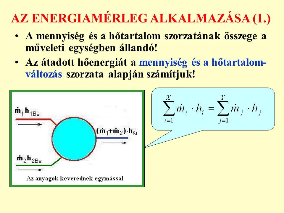 AZ ENERGIAMÉRLEG ALKALMAZÁSA (2.) Közvetlen hőcserélőben az anyagmérlegnek is jelentősége van.