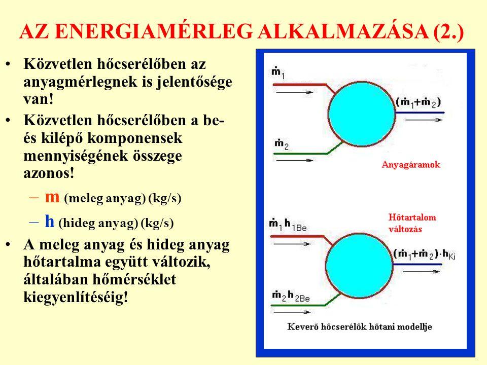 AZ ENERGIAMÉRLEG ALKALMAZÁSA (2.) Közvetlen hőcserélőben az anyagmérlegnek is jelentősége van! Közvetlen hőcserélőben a be- és kilépő komponensek menn