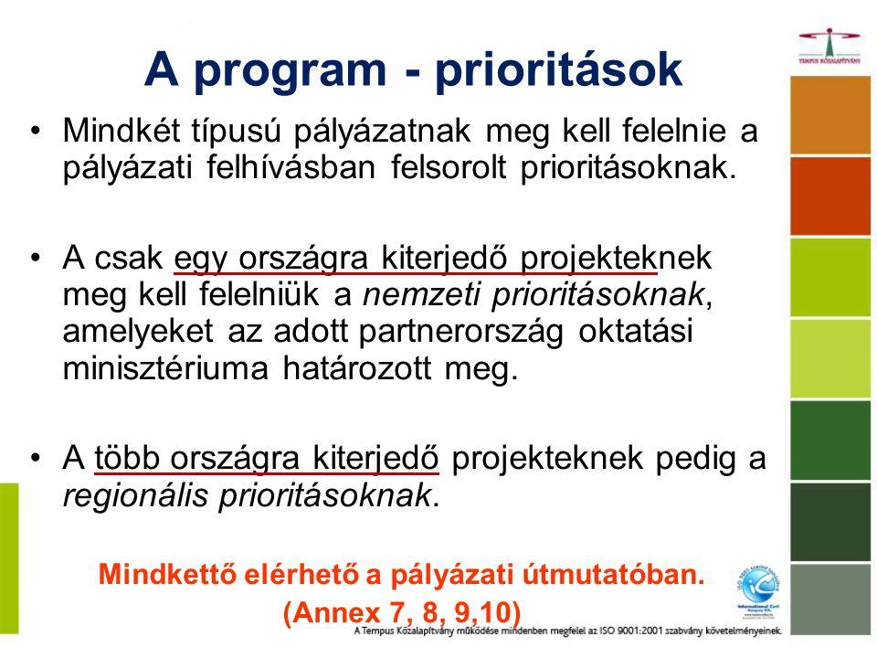 A program - prioritások Mindkét típusú pályázatnak meg kell felelnie a pályázati felhívásban felsorolt prioritásoknak.