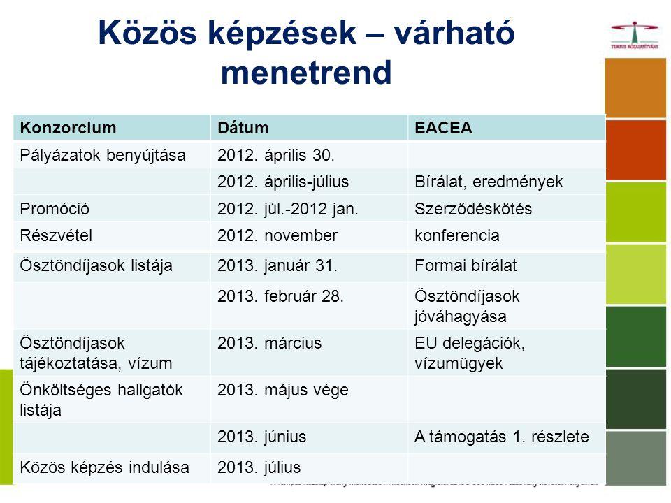 Közös képzések – várható menetrend KonzorciumDátumEACEA Pályázatok benyújtása2012.