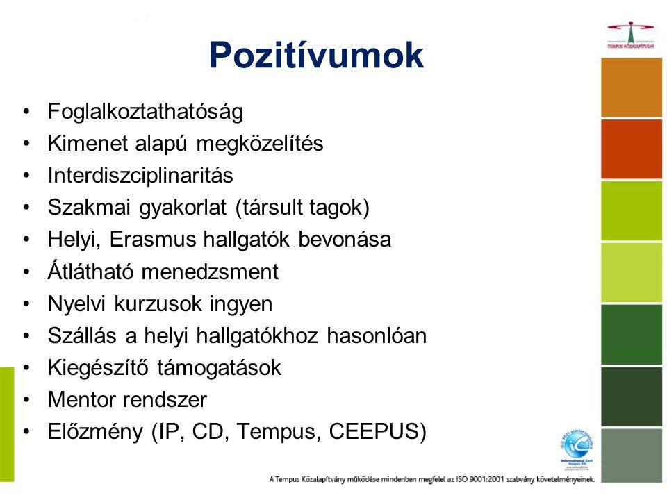 Pozitívumok Foglalkoztathatóság Kimenet alapú megközelítés Interdiszciplinaritás Szakmai gyakorlat (társult tagok) Helyi, Erasmus hallgatók bevonása Átlátható menedzsment Nyelvi kurzusok ingyen Szállás a helyi hallgatókhoz hasonlóan Kiegészítő támogatások Mentor rendszer Előzmény (IP, CD, Tempus, CEEPUS)
