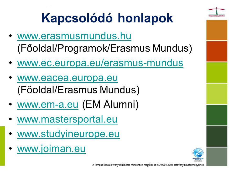 Kapcsolódó honlapok www.erasmusmundus.hu (Főoldal/Programok/Erasmus Mundus)www.erasmusmundus.hu www.ec.europa.eu/erasmus-mundus www.eacea.europa.eu (Főoldal/Erasmus Mundus)www.eacea.europa.eu www.em-a.eu (EM Alumni)www.em-a.eu www.mastersportal.eu www.studyineurope.eu www.joiman.eu