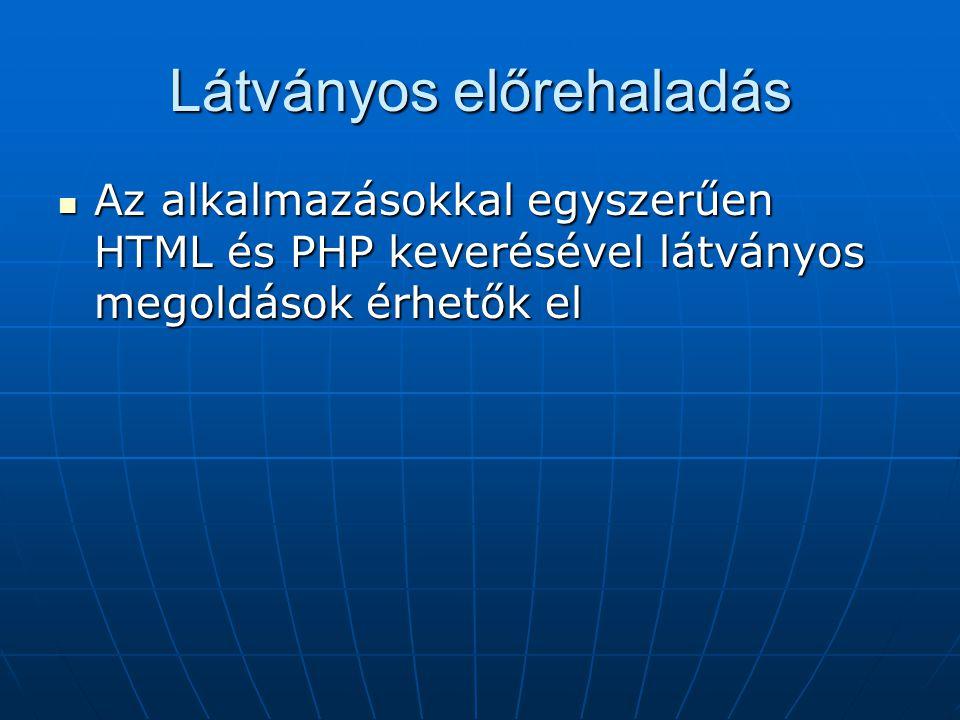 Látványos előrehaladás Az alkalmazásokkal egyszerűen HTML és PHP keverésével látványos megoldások érhetők el Az alkalmazásokkal egyszerűen HTML és PHP keverésével látványos megoldások érhetők el