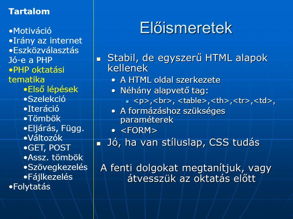 Előismeretek Stabil, de egyszerű HTML alapok kellenek Stabil, de egyszerű HTML alapok kellenek A HTML oldal szerkezeteA HTML oldal szerkezete Néhány alapvető tag:Néhány alapvető tag:,,,,,,,,,,,, A formázáshoz szükséges paraméterekA formázáshoz szükséges paraméterek Jó, ha van stíluslap, CSS tudás Jó, ha van stíluslap, CSS tudás A fenti dolgokat megtanítjuk, vagy átvesszük az oktatás előtt Tartalom Motiváció Irány az internet Eszközválasztás Jó-e a PHP PHP oktatási tematika Első lépések Szelekció Iteráció Tömbök Eljárás, Függ.