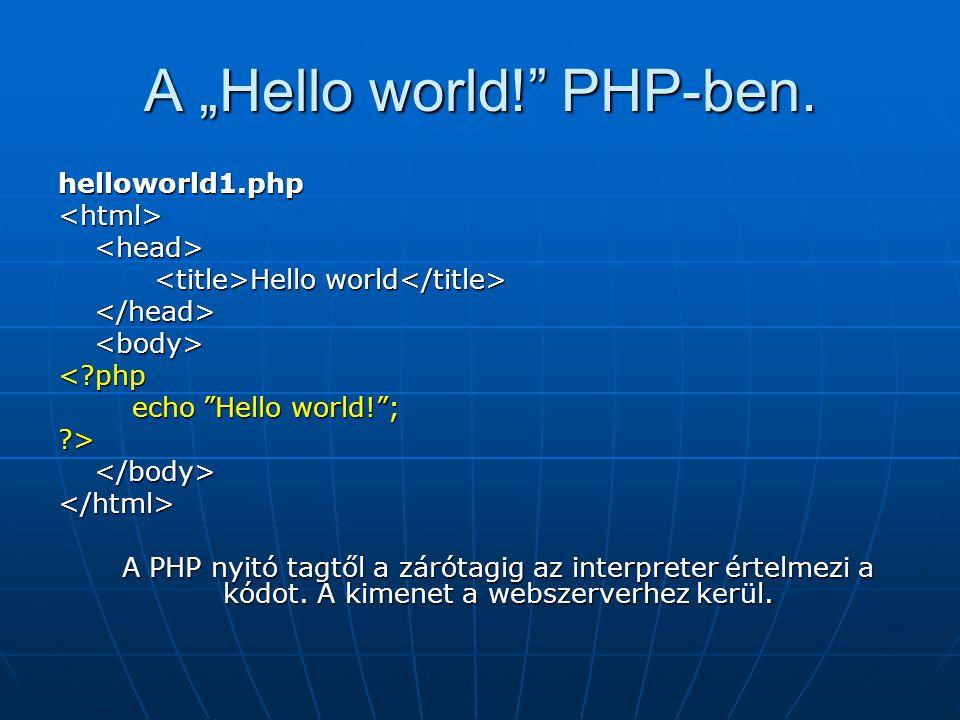 "A ""Hello world! PHP-ben."