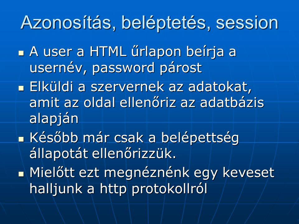 Azonosítás, beléptetés, session A user a HTML űrlapon beírja a usernév, password párost A user a HTML űrlapon beírja a usernév, password párost Elküld