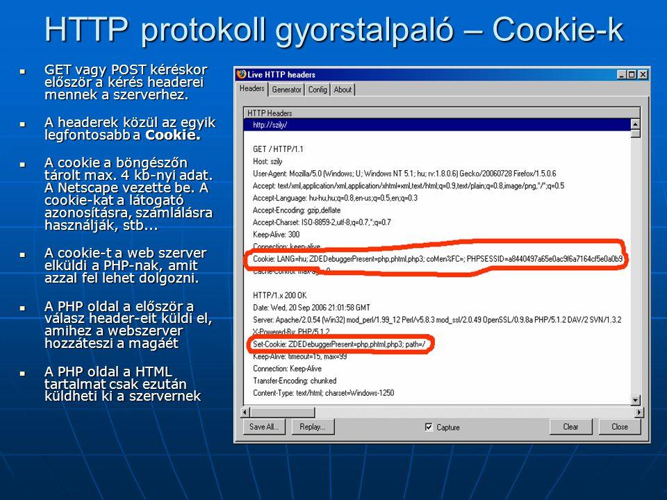 HTTP protokoll gyorstalpaló – Cookie-k GET vagy POST kéréskor először a kérés headerei mennek a szerverhez. GET vagy POST kéréskor először a kérés hea