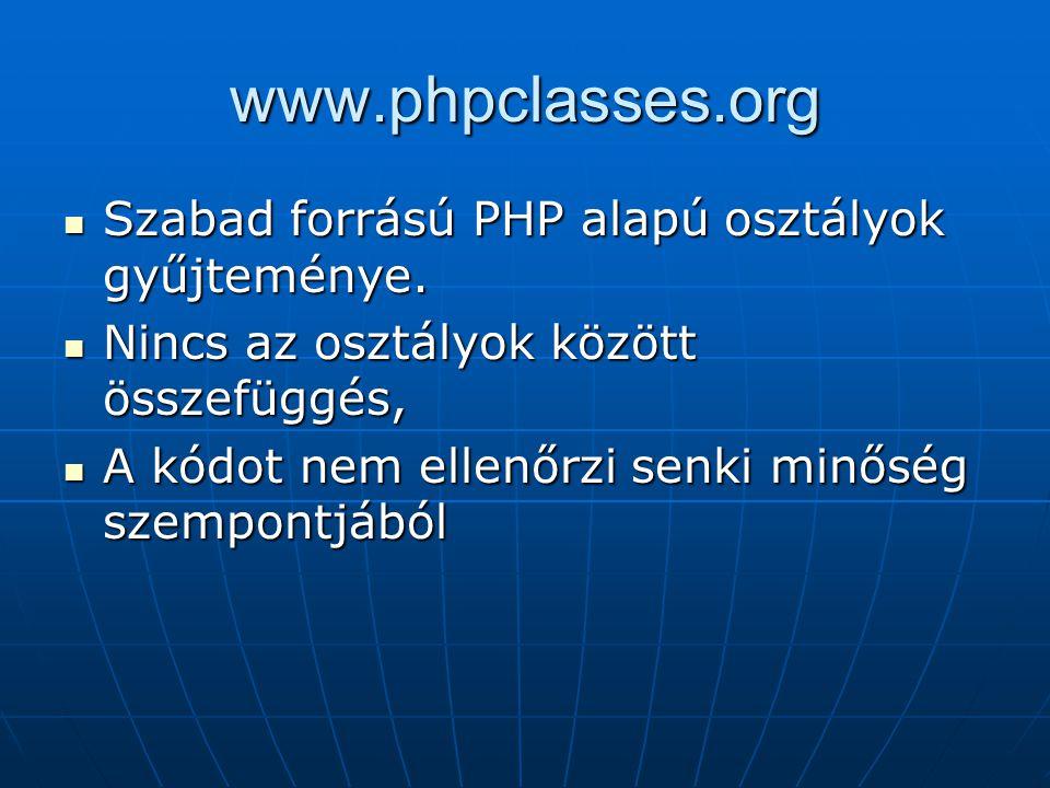 www.phpclasses.org Szabad forrású PHP alapú osztályok gyűjteménye. Szabad forrású PHP alapú osztályok gyűjteménye. Nincs az osztályok között összefügg