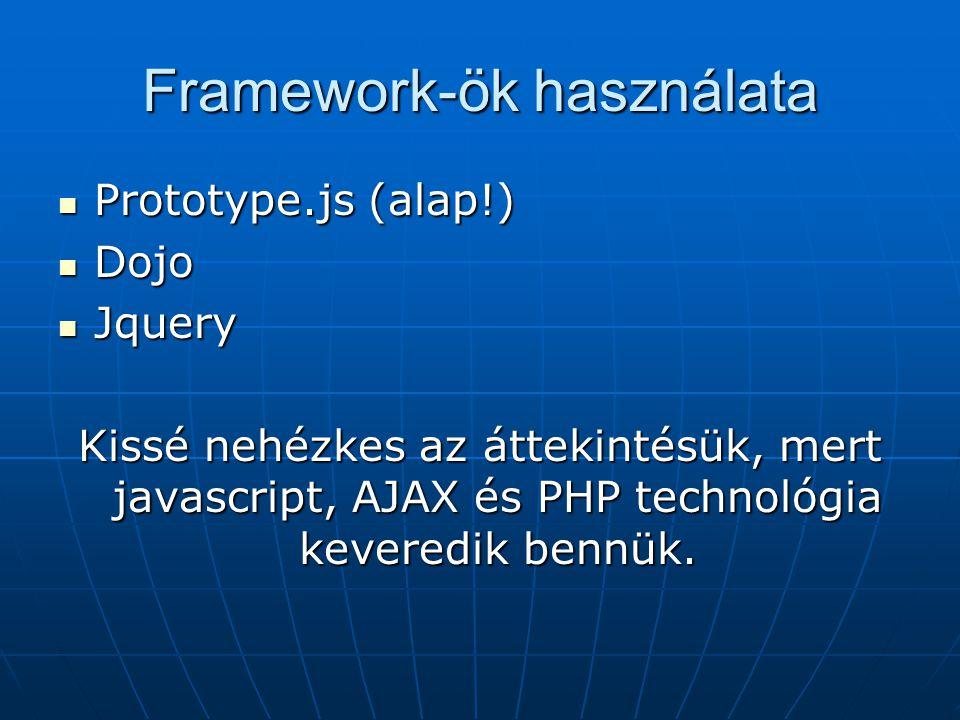 Framework-ök használata Prototype.js (alap!) Prototype.js (alap!) Dojo Dojo Jquery Jquery Kissé nehézkes az áttekintésük, mert javascript, AJAX és PHP